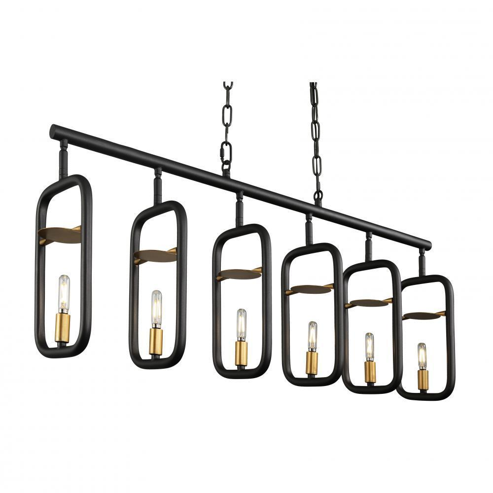 Varaluz Bar None 6 Light Linear Aged Gol Rustic Model: 327N06AGRB