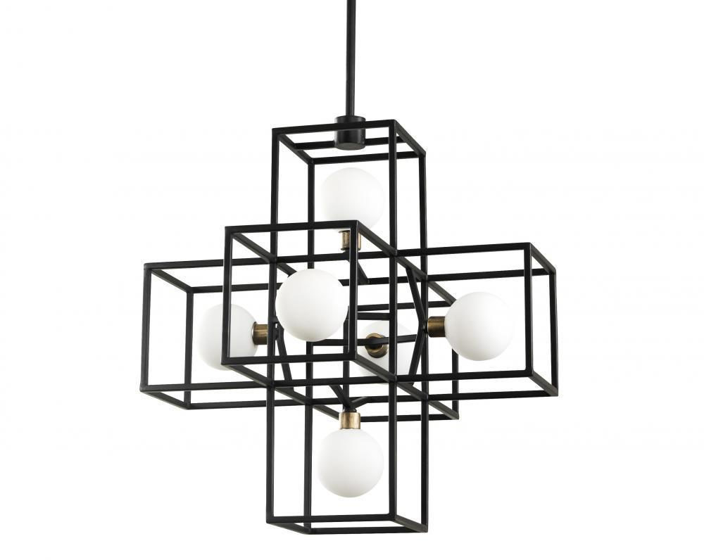 Varaluz Plaza 6 Light Pendant Carbo Havana Gold Model: 325P06CBHG