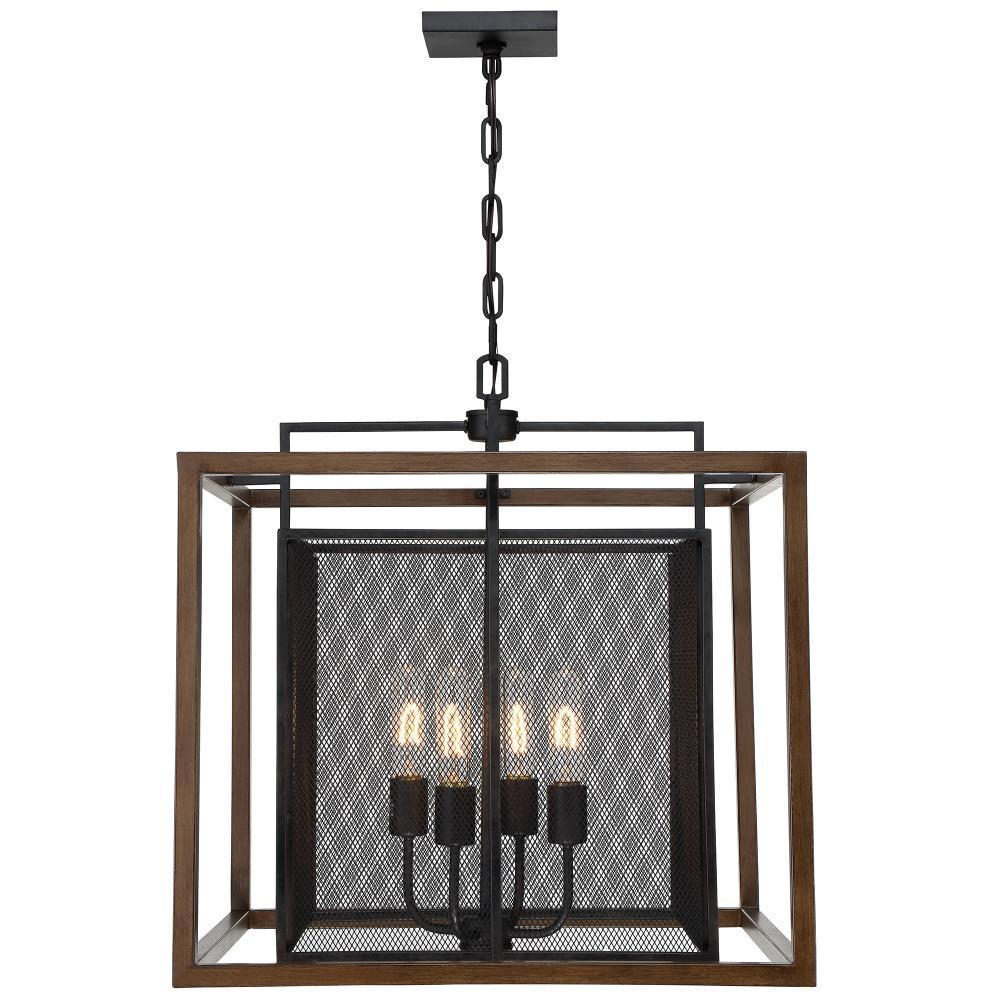 Varaluz Rio Lobo 4 Light Pendant  Dark Oa Black Model: 285P04DOBL