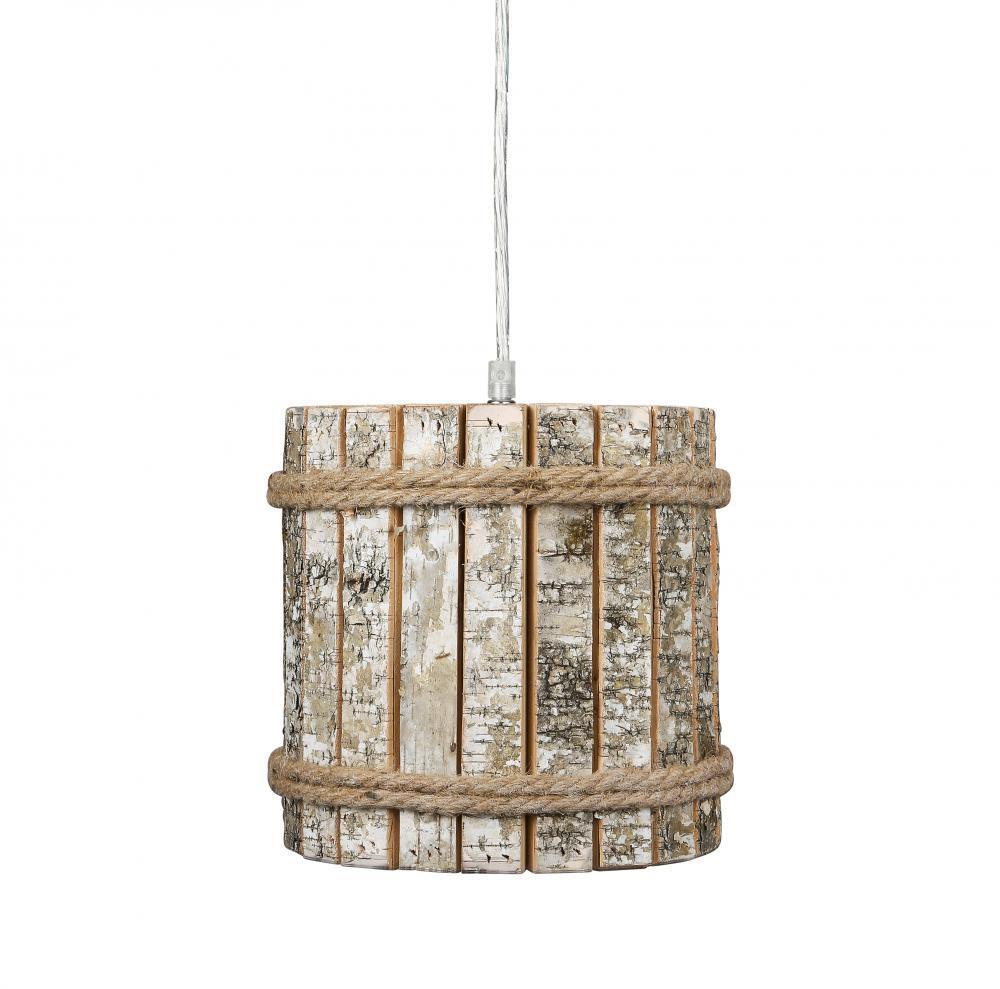 Varaluz Woody 1 Light Mini Pendant White Aspen Bark Model: 276M01B