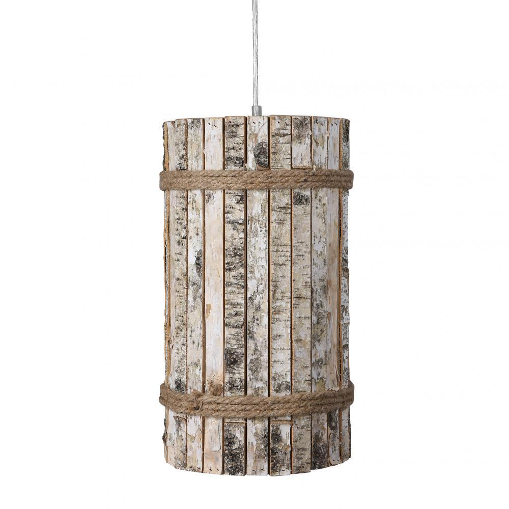 Varaluz Woody 1 Light Tall Pendant White Aspen Bark Model: 276P01TB