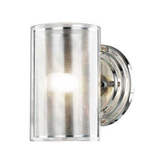 W321-1CL-CM-CL Single Light Chrome Wall Sconce with Metal/ Clear Glass Cylinders