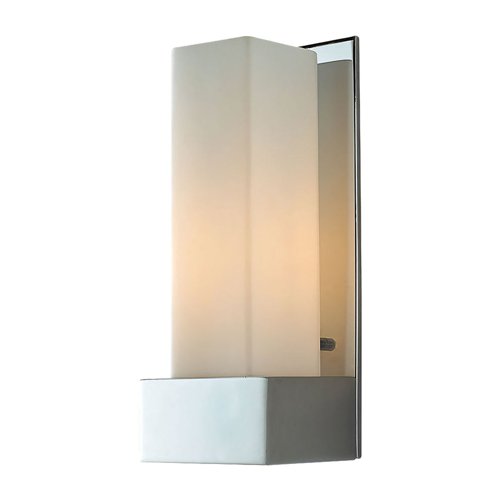 WS121-10-15 Alico Solo Tall Sconce White Opal Glass / Chrome Finish