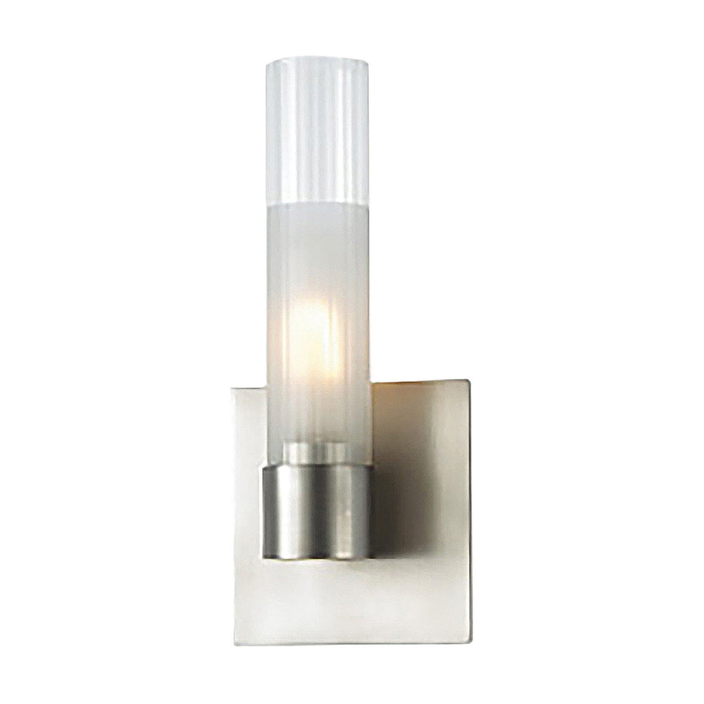 WS851-79-16M Alico Regato Uno Sconce. Frosted With Clear Top Glass / Satin Nickel Finish