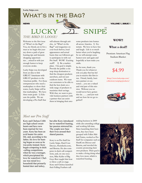 Download Lucky Snipe Newsletter - Volume 1 Issue 1