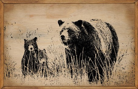 Bears - Framed Wooden Sign