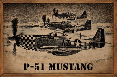 P-51 Mustang Planes Framed Wood Sign