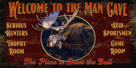 Welcome To The Man Cave Wood Sign - Moose