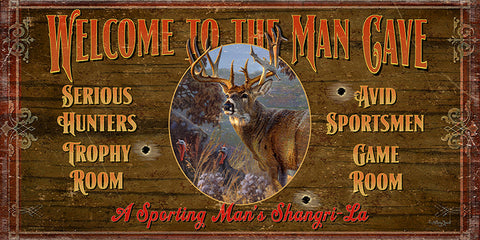 Welcome To The Man Cave Wood Sign Deer