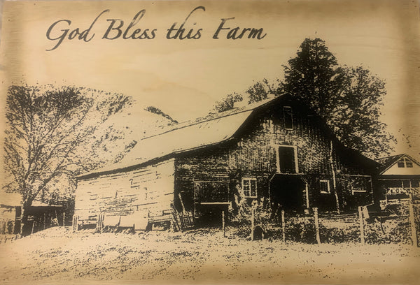 God Bless This Farm Wood Sign
