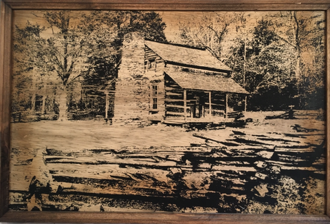 Rustic Cabin - Framed Wooden Sign