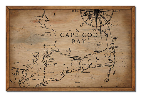 Cape Cod Bay Framed Wood Sign