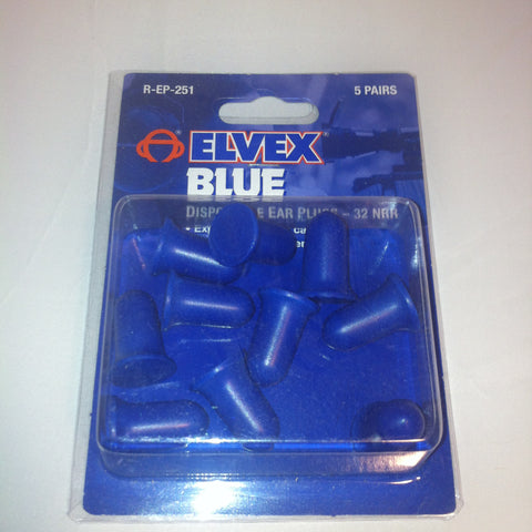 Elvex Blue Disposal Foam Earplugs