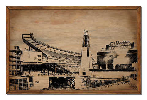 Gillette Stadium Framed Wood Sign