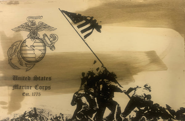 Marine Iwo Jima Memorial Wood Sign