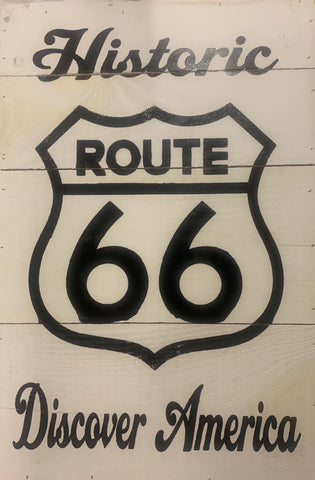 Historic Route 66 - Discover America Wood Sign