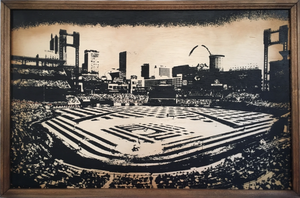 St. Louis Cardinals Busch Stadium - Framed Wood Sign