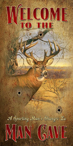 Welcome To The Man Cave - Deer - Vertical