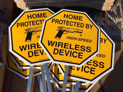 Home Protected by High-Speed Wireless Device Yard Sign - IRREGULAR / DAMAGED
