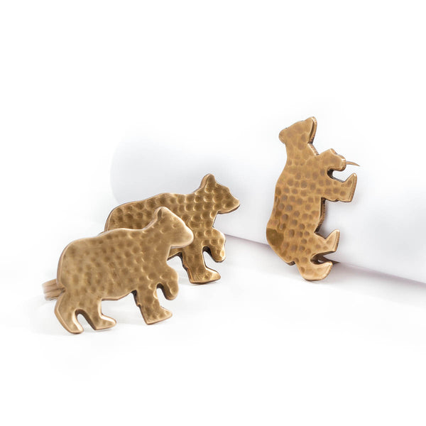 Brass Napkin Rings - Bear (Set of 5)