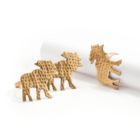 Brass Napkin Rings - Moose (Set of 4)