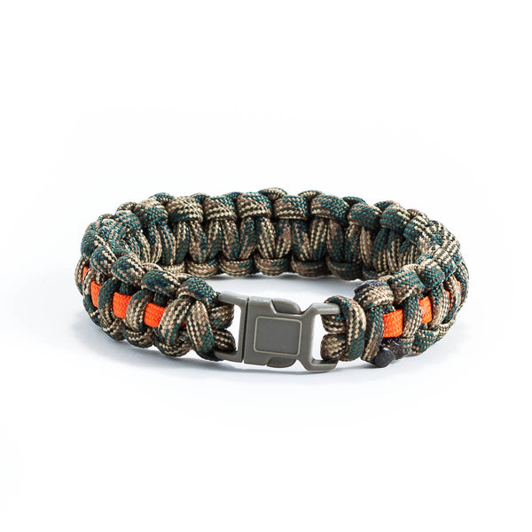 Green Camo & Orange Survival Bracelet