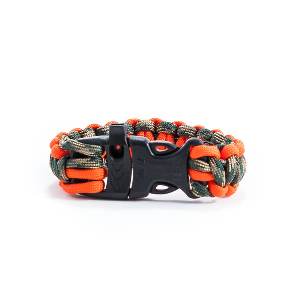 Orange & Green Camo Survival Bracelet with Whistle Clasp