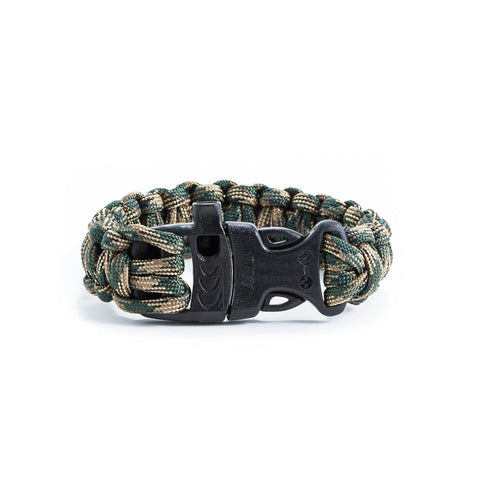 Green Camo Survival Bracelet with Whistle Clasp