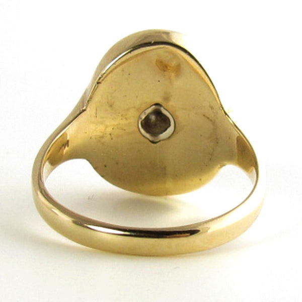 1930-1940s Onyx Mans Ring with 14K Yellow Gold and Old European Cut Diamond
