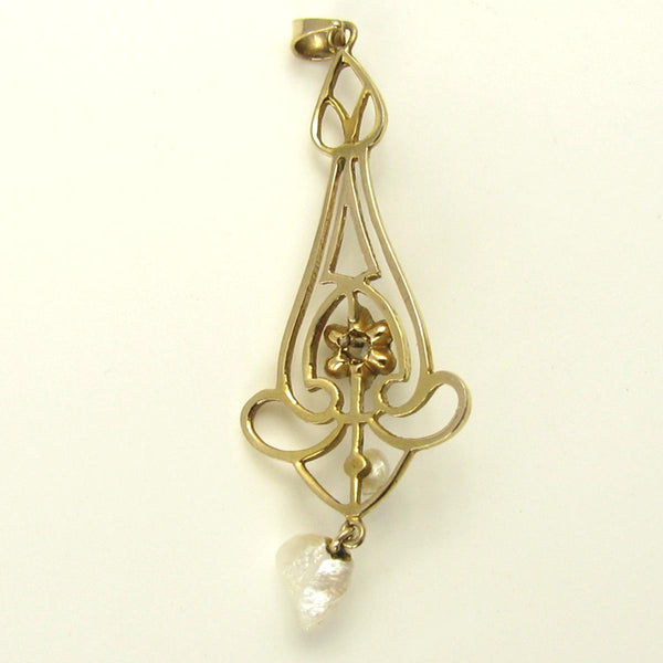 Antique Art Nouveau Diamond Necklace in Yellow Gold with a Natural Pearls