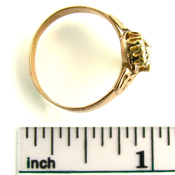 Victorian 10K Rose Gold Old Mine Cut Diamond Ring
