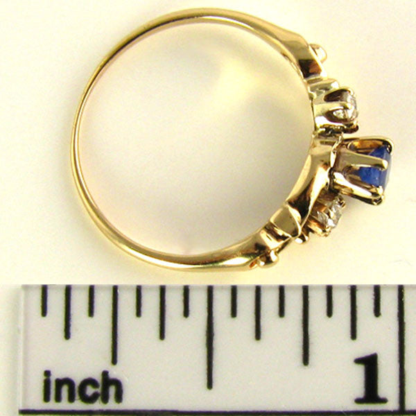 Edwardian Natural Sapphire and Old Mind Diamond Ring Ruler