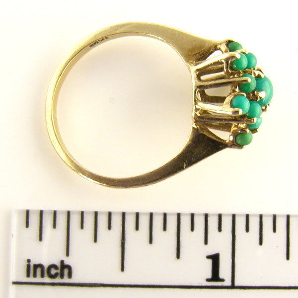 MidCentury Turquoise and Gold Ring