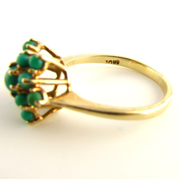 MidCentury Turquoise and Gold Ring 10K