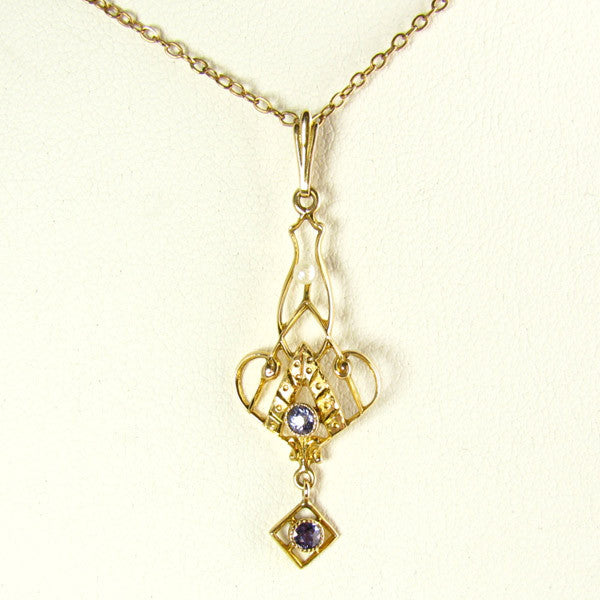 Antique Necklace with Sapphires, Pearl in Yellow Gold