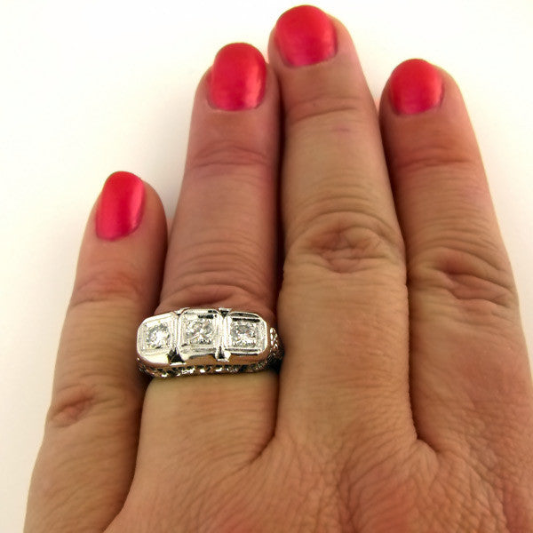 Art Deco Diamond Ring On Hand