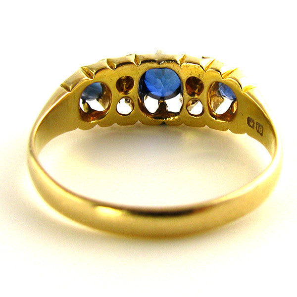Edwardian Natural Sapphire and Diamond Ring Back