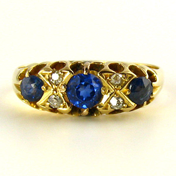 Edwardian Sapphire and Diamond Ring