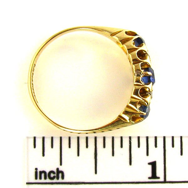 Early 1900 Sapphire Ring on Ruler