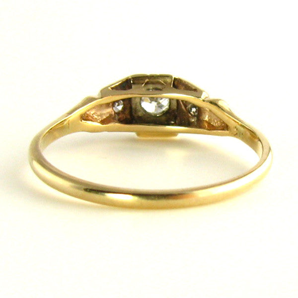 Two Tone Gold: Art Deco Diamond Ring Back