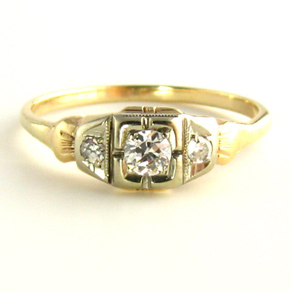 Two Tone Gold: Art Deco Diamond Ring