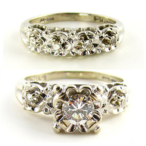 1950s White Gold Diamond Wedding Set - Beautiful Antique Jewelry