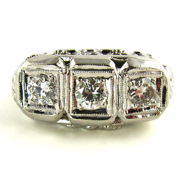 Three Stone Diamond Art Deco Ring