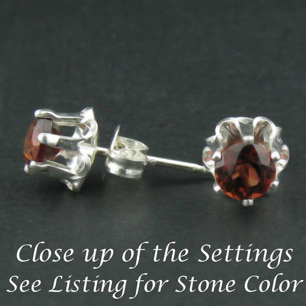 Garnets in Sterling Silver Earring Buttercup Setting