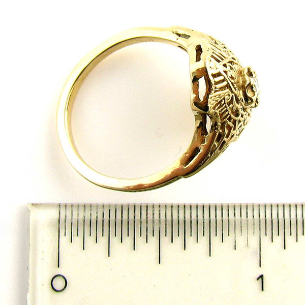 14K Art Deco Filigree Ring with Diamond in Yellow Gold - Beautiful Antique Jewelry - 6