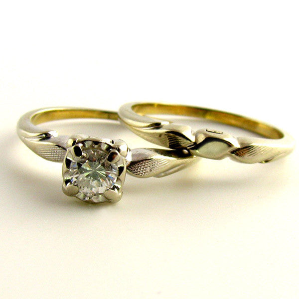 Diamond & White Gold Engagement Ring Set