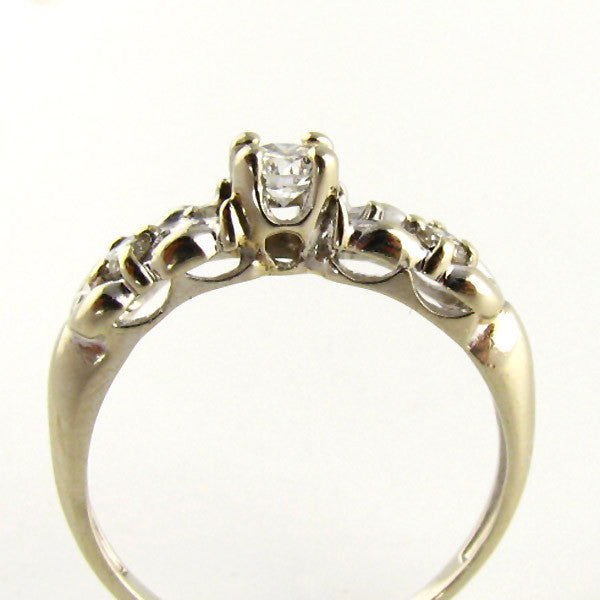 Affordable Wedding Band Swirling White Gold Ring Top