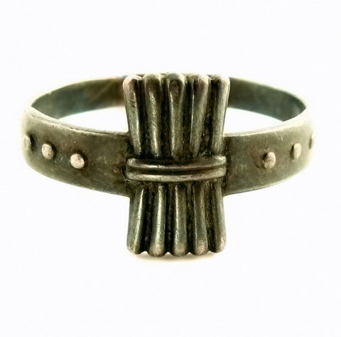 Antique Sterling Ring Wheat Shaped