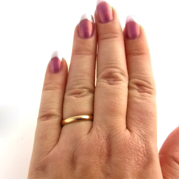 Antique Victorian Rose Gold Wedding Band On Hand