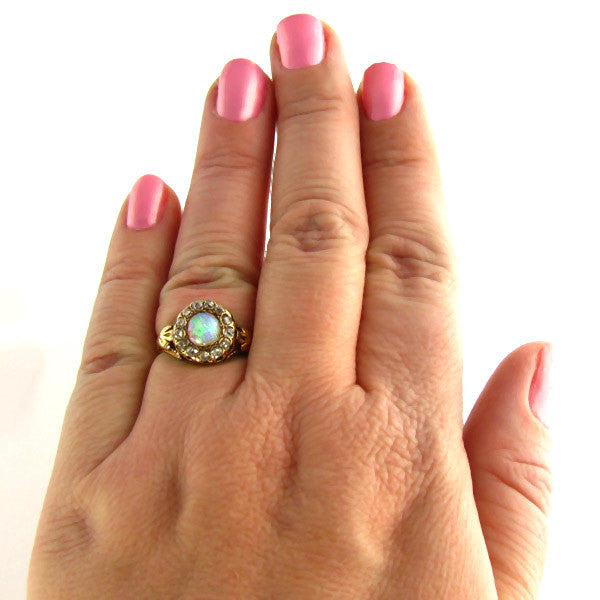 Antique Opal Ring With Diamonds on Hand